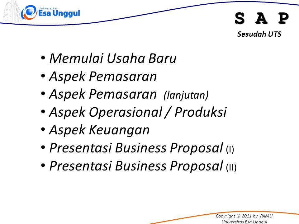 Copyright © 2011 by PAMU Universitas Esa Unggul S A P Memulai Usaha Baru Aspek Pemasaran Aspek Pemasaran (lanjutan) Aspek Operasional / Produksi Aspek