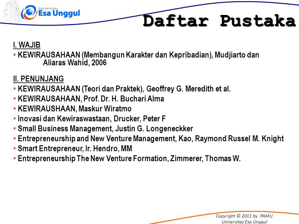 Copyright © 2011 by PAMU Universitas Esa Unggul Daftar Pustaka I. WAJIB KEWIRAUSAHAAN (Membangun Karakter dan Kepribadian), Mudjiarto dan Aliaras Wahi