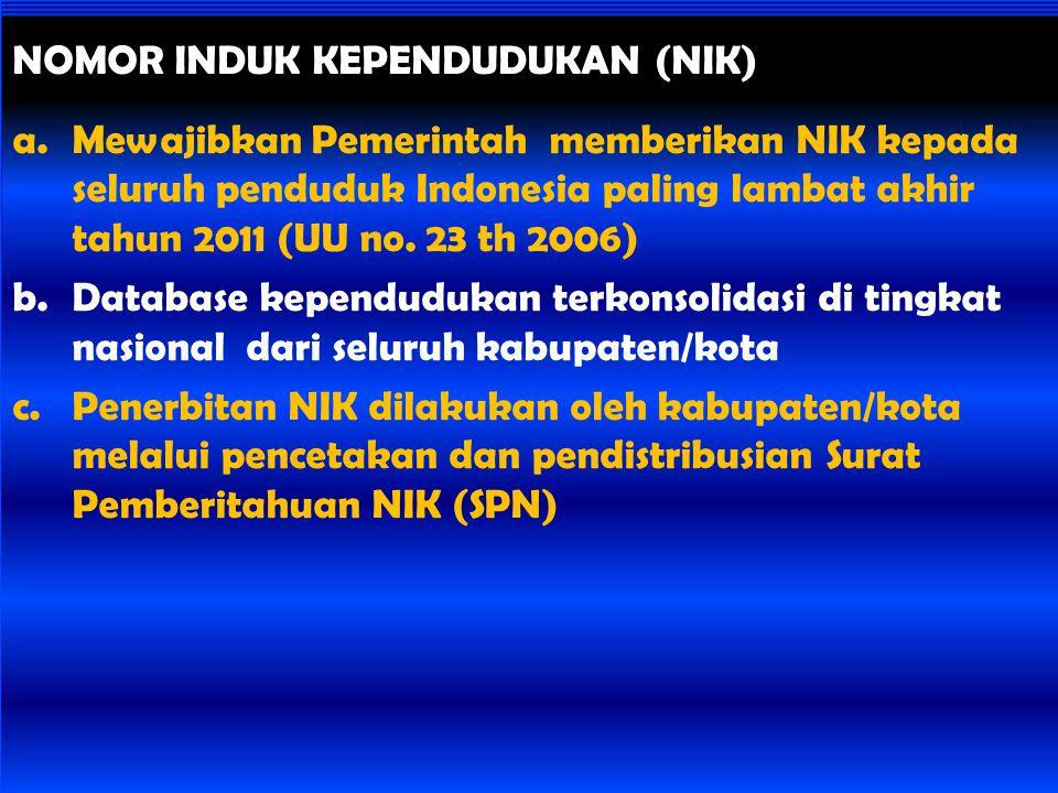 a.Mewajibkan Pemerintah memberikan NIK kepada seluruh penduduk Indonesia paling lambat akhir tahun 2011 (UU no. 23 th 2006) b.Database kependudukan te