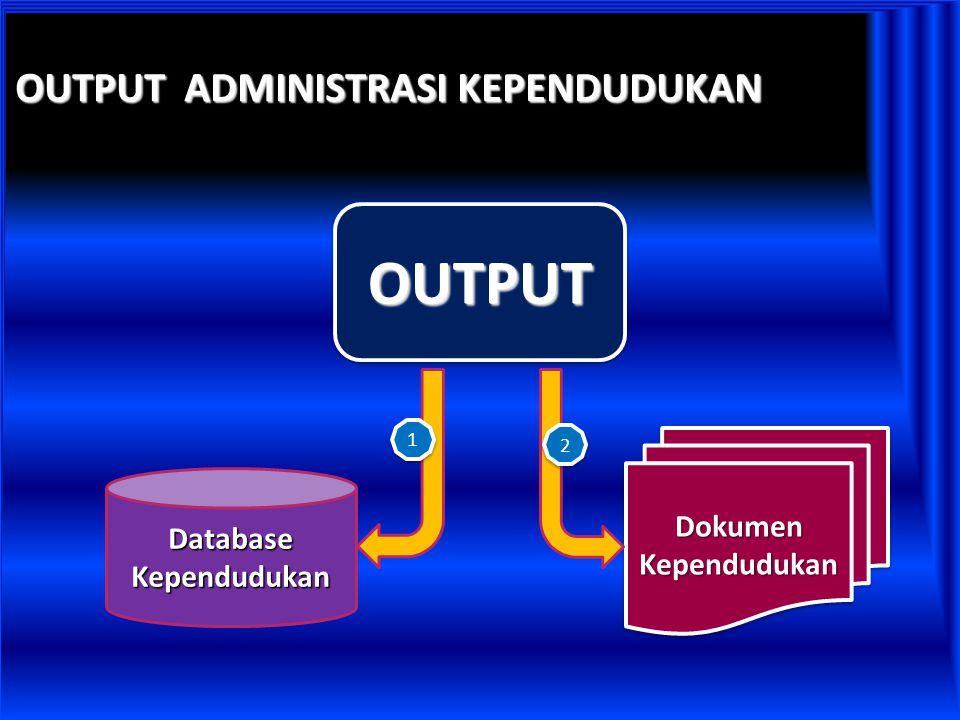 OUTPUT ADMINISTRASI KEPENDUDUKAN OUTPUTOUTPUT Database Kependudukan Dokumen Kependudukan 1 1 2 2