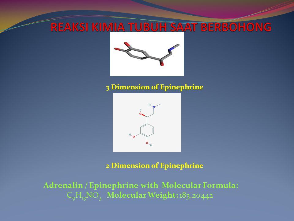 Adrenalin / Epinephrine with Molecular Formula: C 9 H 13 NO 3 Molecular Weight: 183.20442 3 Dimension of Epinephrine 2 Dimension of Epinephrine