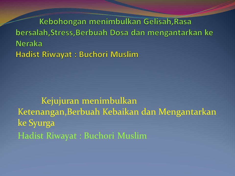 Kejujuran menimbulkan Ketenangan,Berbuah Kebaikan dan Mengantarkan ke Syurga Hadist Riwayat : Buchori Muslim