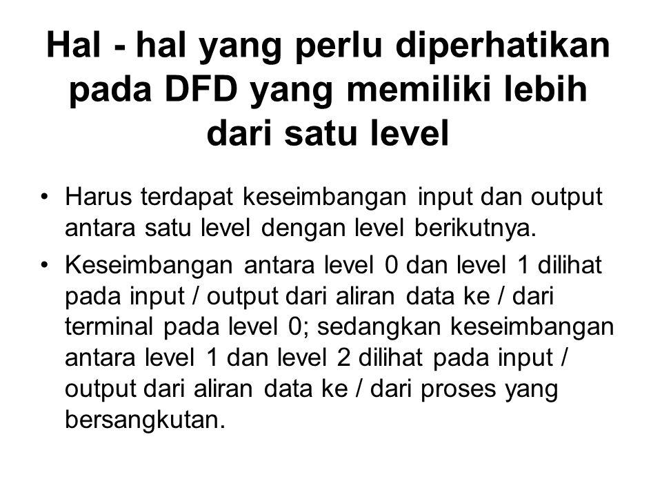 Hal - hal yang perlu diperhatikan pada DFD yang memiliki lebih dari satu level Harus terdapat keseimbangan input dan output antara satu level dengan level berikutnya.