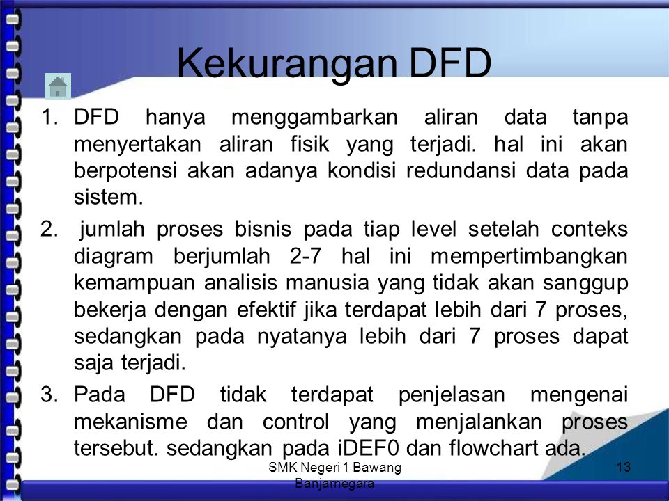 Anim Hadi Susanto 08563559009 Kelebihan DFD 1.Menggambarkan aliran data yang dibutuhkan oleh perusahaan secara mendetail sehingga akan memudahkan perusahaan dalam melakukan perancangan sistem informasi perusahaan.