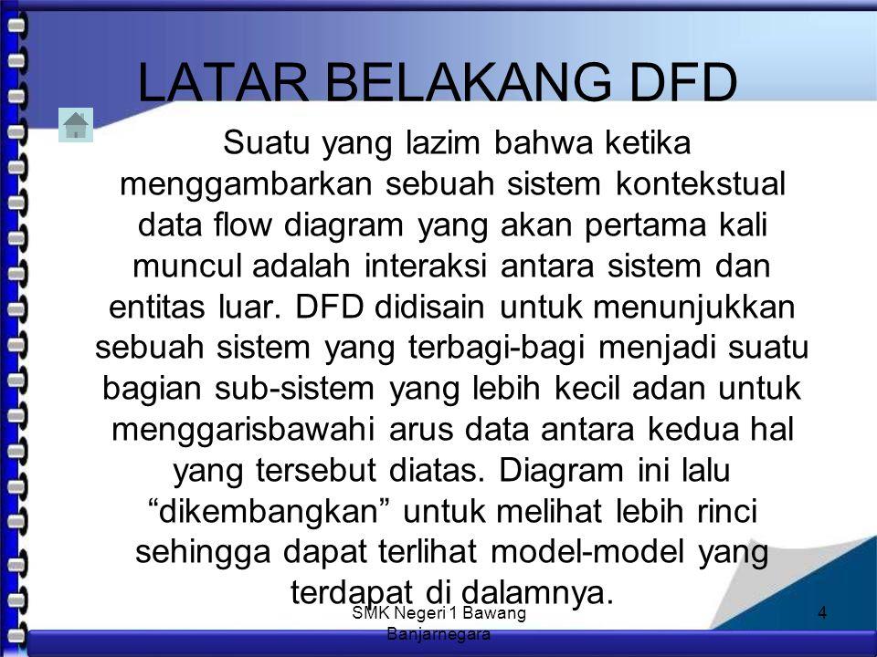 Anim Hadi Susanto 08563559009 DATA FLOW DIAGRAM Diagram Alir Data (DAD) atau Data Flow Diagram (DFD) adalah suatu diagram yang menggunakan notasi-notasi untuk menggambarkan arus dari data sistem, yang penggunaannya sangat membantu untuk memahami sistem secara logika, tersruktur dan jelas.
