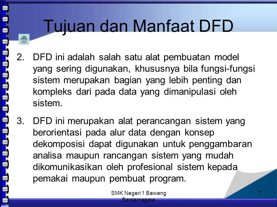 Anim Hadi Susanto 08563559009 Tujuan dan Manfaat DFD Manfaat DFD adalah : 1.Data Flow Diagram (DFD) adalah alat pembuatan model yang memungkinkan profesional sistem untuk menggambarkan sistem sebagai suatu jaringan proses fungsional yang dihubungkan satu sama lain dengan alur data, baik secara manual maupun komputerisasi.