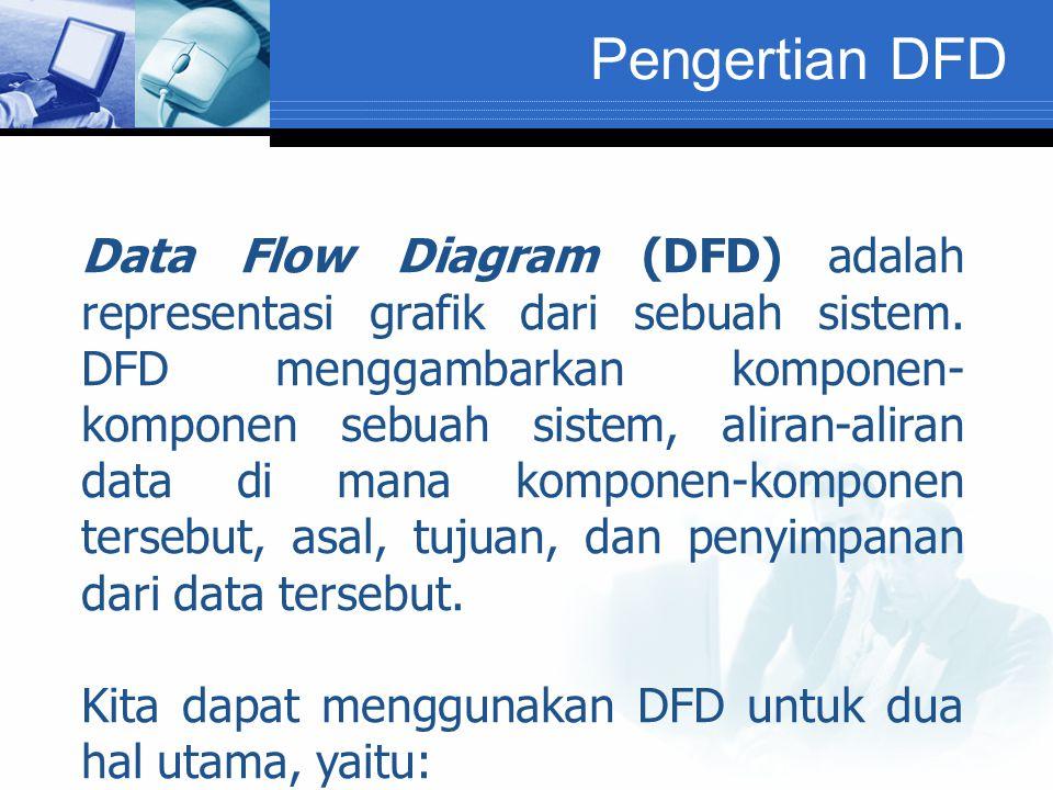 Pengertian DFD Data Flow Diagram (DFD) adalah representasi grafik dari sebuah sistem.