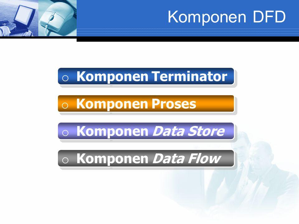 Komponen DFD o Komponen Terminator o Komponen Proses o Komponen Data Store o Komponen Data Flow