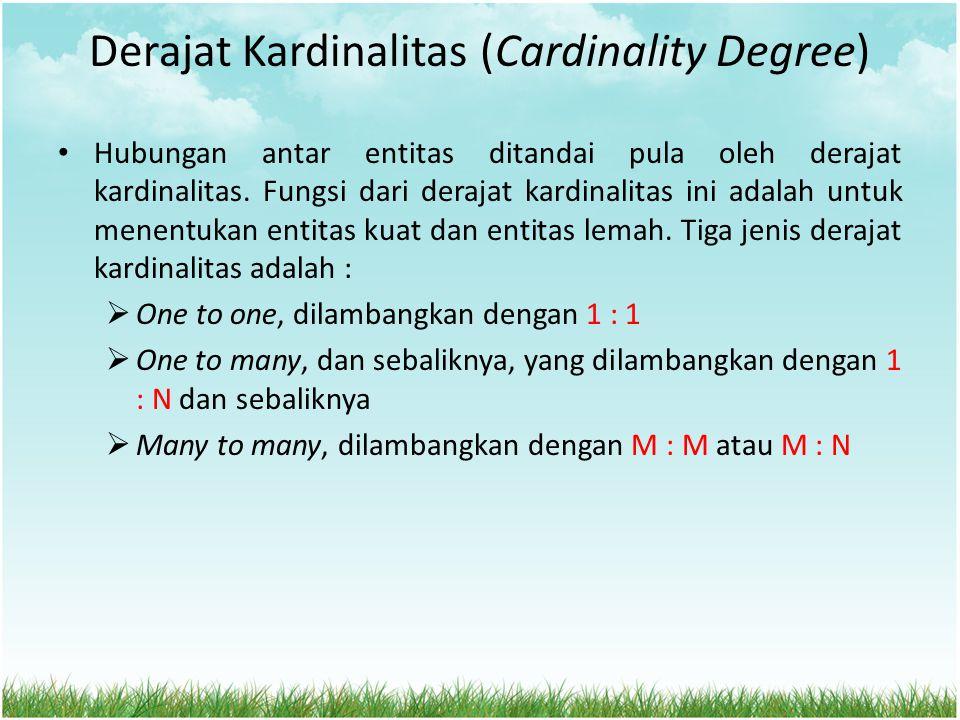 Derajat Kardinalitas (Cardinality Degree) Hubungan antar entitas ditandai pula oleh derajat kardinalitas. Fungsi dari derajat kardinalitas ini adalah