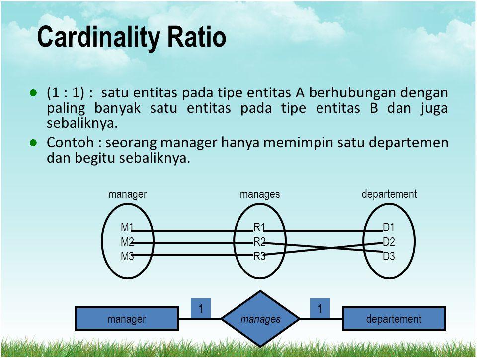 Cardinality Ratio (1 : 1) : satu entitas pada tipe entitas A berhubungan dengan paling banyak satu entitas pada tipe entitas B dan juga sebaliknya. Co