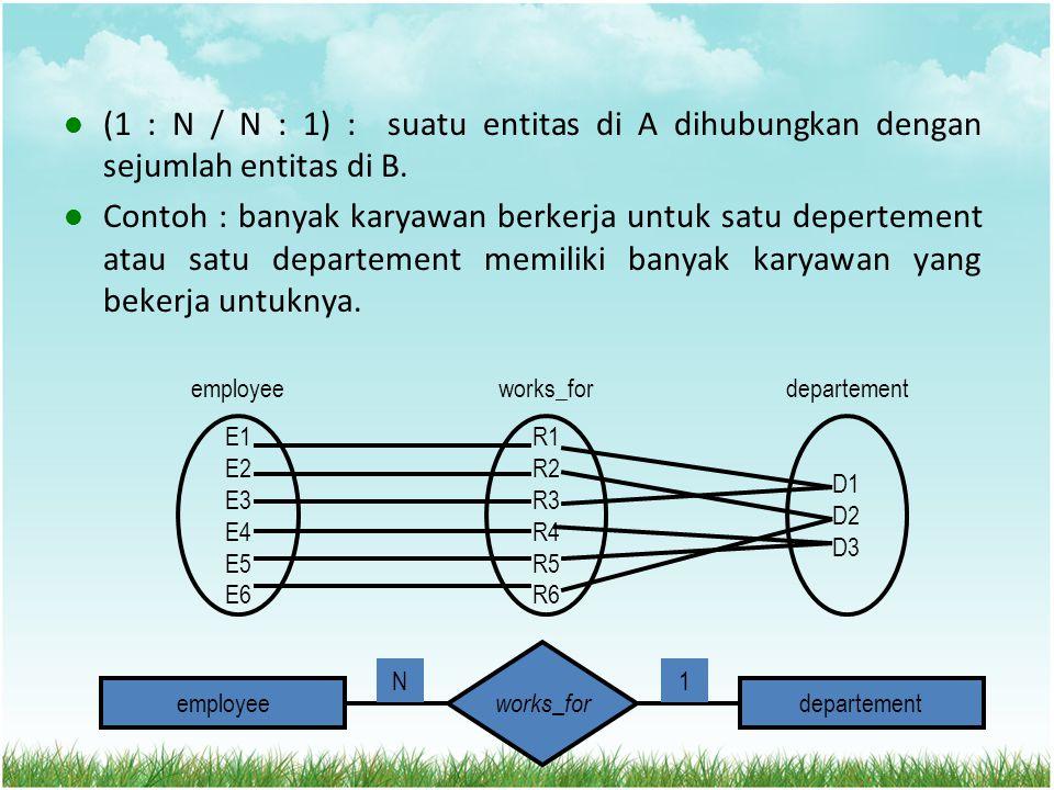 (1 : N / N : 1) : suatu entitas di A dihubungkan dengan sejumlah entitas di B. Contoh : banyak karyawan berkerja untuk satu depertement atau satu depa