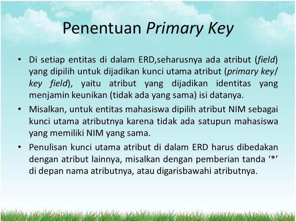 Penentuan Primary Key Di setiap entitas di dalam ERD,seharusnya ada atribut (field) yang dipilih untuk dijadikan kunci utama atribut (primary key/ key