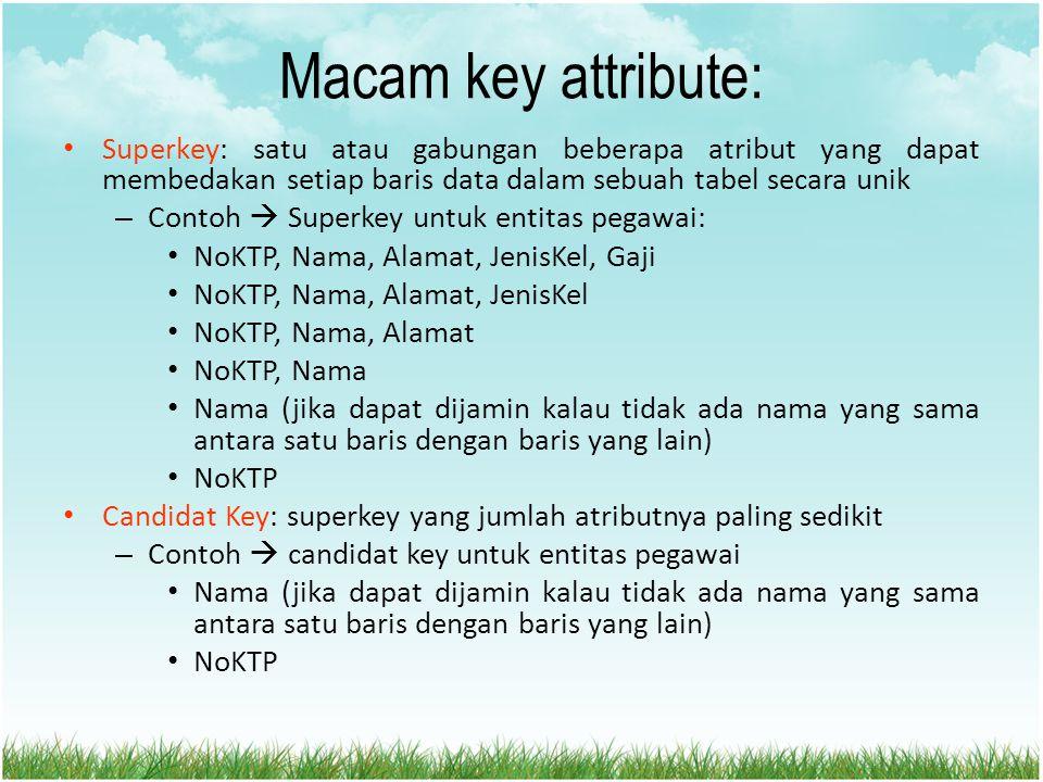 Macam key attribute: Superkey: satu atau gabungan beberapa atribut yang dapat membedakan setiap baris data dalam sebuah tabel secara unik – Contoh  S