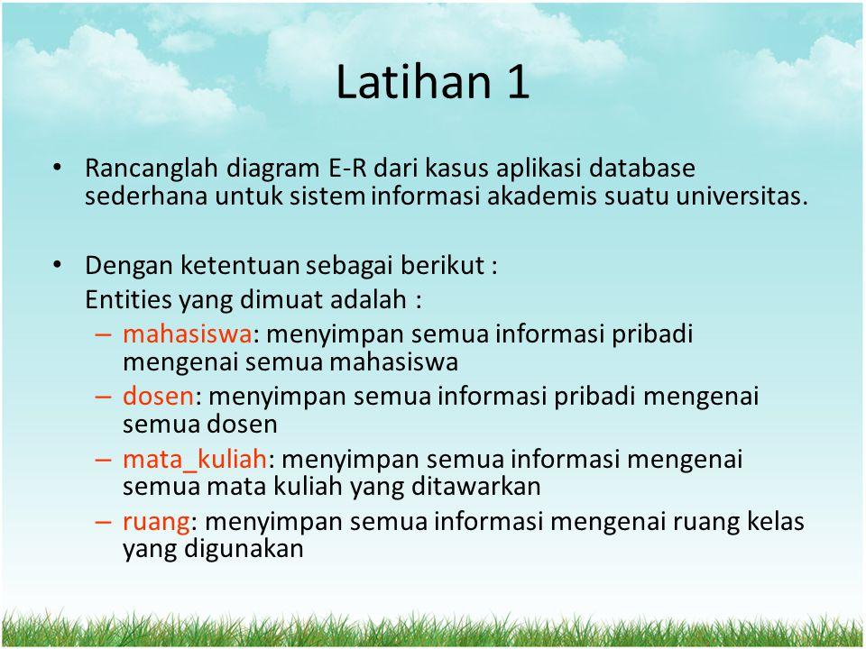 Latihan 1 Rancanglah diagram E-R dari kasus aplikasi database sederhana untuk sistem informasi akademis suatu universitas. Dengan ketentuan sebagai be