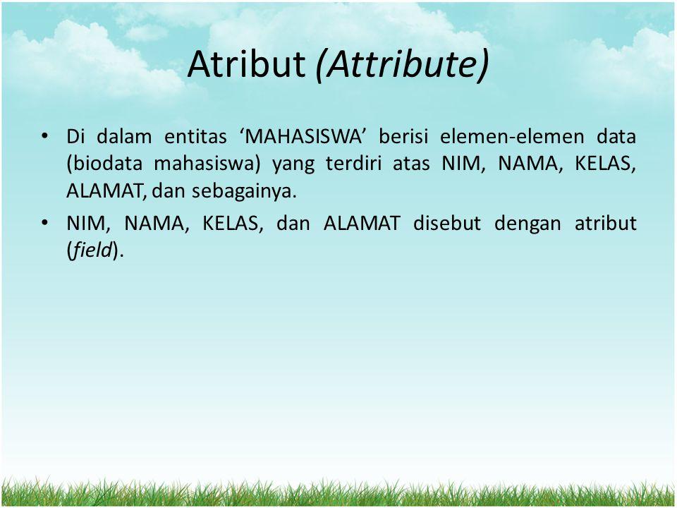 Atribut (Attribute) Di dalam entitas 'MAHASISWA' berisi elemen-elemen data (biodata mahasiswa) yang terdiri atas NIM, NAMA, KELAS, ALAMAT, dan sebagai
