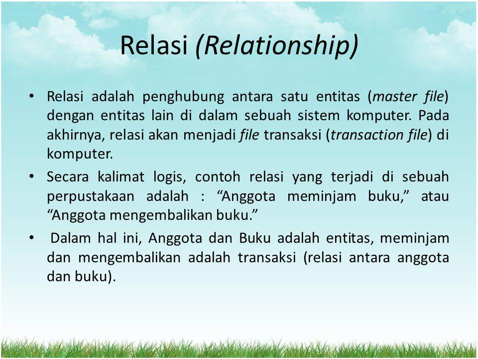 Relasi (Relationship) Relasi adalah penghubung antara satu entitas (master file) dengan entitas lain di dalam sebuah sistem komputer. Pada akhirnya, r