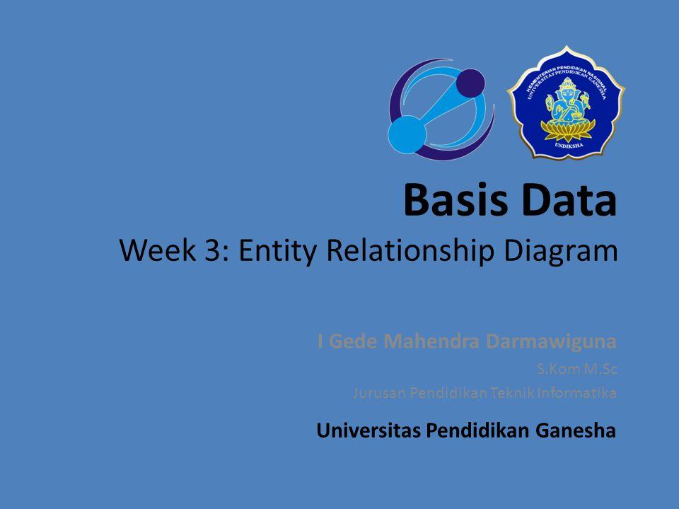 Entity Relationship Diagram Entity Relationship Diagram Tujuan Intruksional Khusus : Setelah mempelajari bagian ini, mahasiswa akan mampu memahami konsep dan menerapkan pemodelan data menggunakan ERD, memahami mengenai entitas, atribut, relasi, serta derajat relasi/kardinalitas.