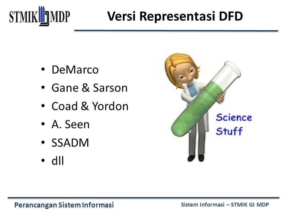 Perancangan Sistem Informasi Sistem Informasi – STMIK GI MDP Versi Representasi DFD DeMarco Gane & Sarson Coad & Yordon A. Seen SSADM dll