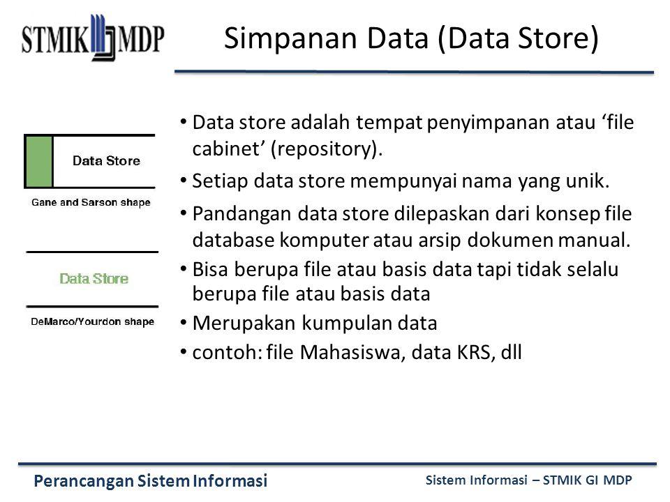 Perancangan Sistem Informasi Sistem Informasi – STMIK GI MDP Simpanan Data (Data Store) Data store adalah tempat penyimpanan atau 'file cabinet' (repo