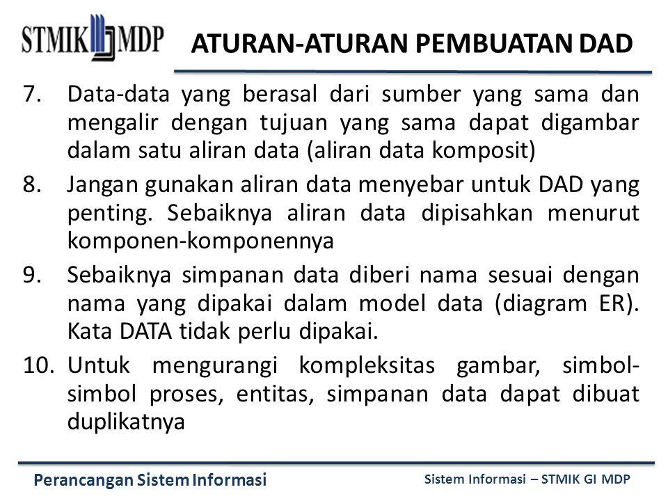 Perancangan Sistem Informasi Sistem Informasi – STMIK GI MDP 7.Data-data yang berasal dari sumber yang sama dan mengalir dengan tujuan yang sama dapat