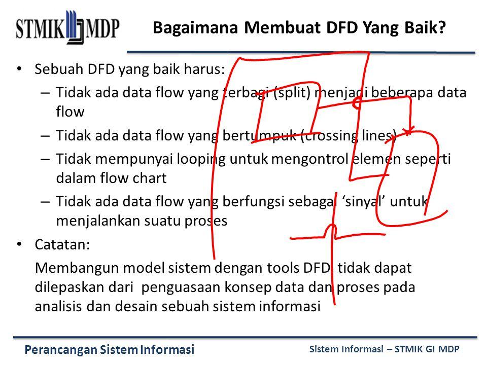 Perancangan Sistem Informasi Sistem Informasi – STMIK GI MDP Bagaimana Membuat DFD Yang Baik? Sebuah DFD yang baik harus: – Tidak ada data flow yang t