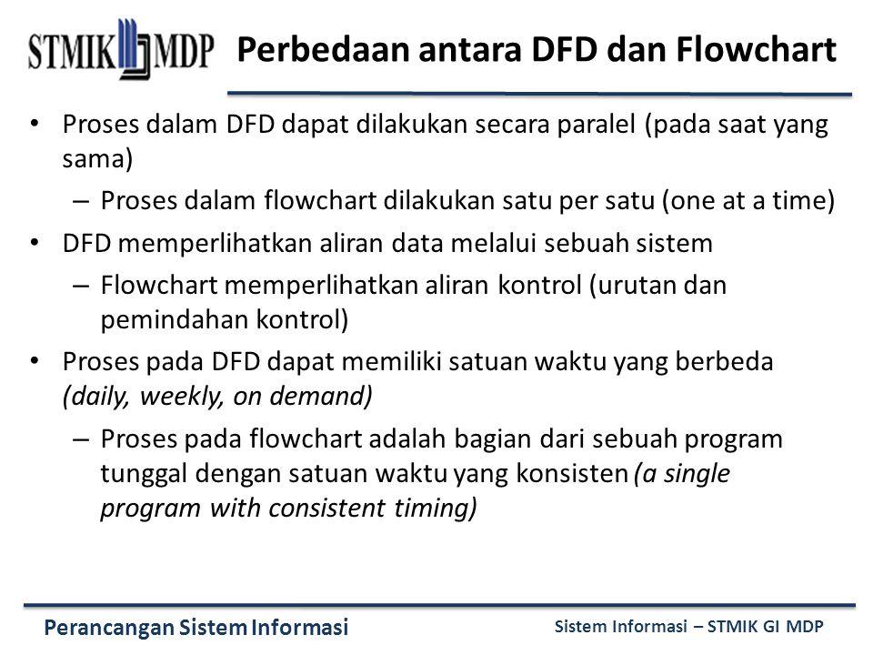 Perancangan Sistem Informasi Sistem Informasi – STMIK GI MDP Perbedaan antara DFD dan Flowchart Proses dalam DFD dapat dilakukan secara paralel (pada