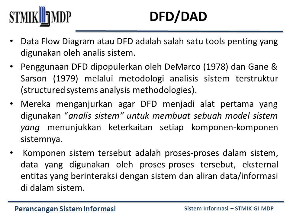 Perancangan Sistem Informasi Sistem Informasi – STMIK GI MDP DFD/DAD Data Flow Diagram atau DFD adalah salah satu tools penting yang digunakan oleh analis sistem.