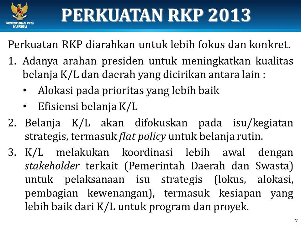 KEMENTERIAN PPN/ BAPPENAS PERKUATAN RKP 2013 Perkuatan RKP diarahkan untuk lebih fokus dan konkret.