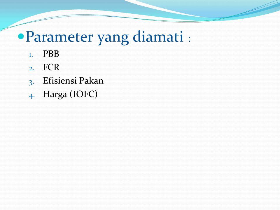 Parameter yang diamati : 1. PBB 2. FCR 3. Efisiensi Pakan 4. Harga (IOFC)