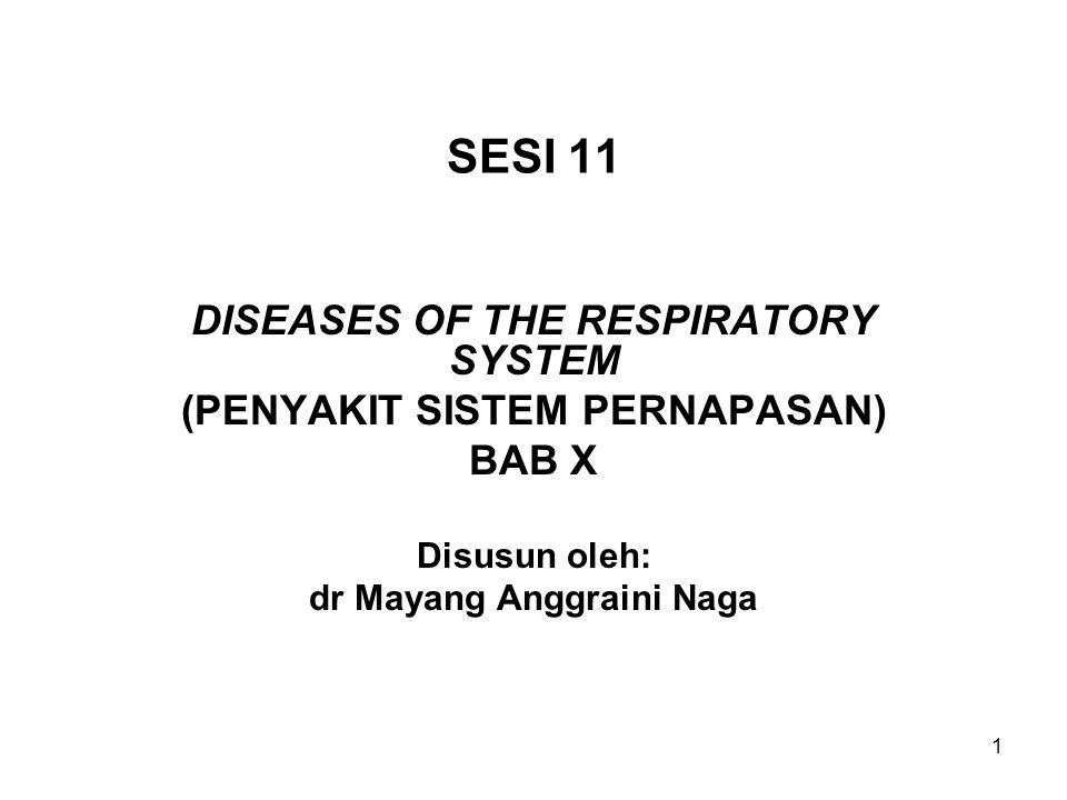 1 SESI 11 DISEASES OF THE RESPIRATORY SYSTEM (PENYAKIT SISTEM PERNAPASAN) BAB X Disusun oleh: dr Mayang Anggraini Naga