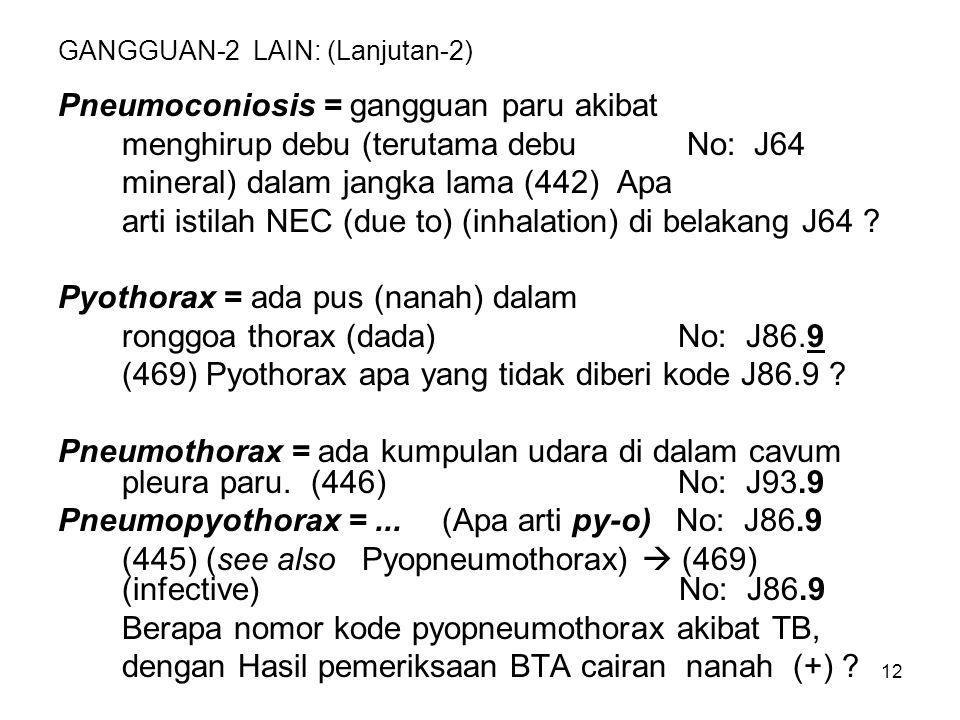 12 GANGGUAN-2 LAIN: (Lanjutan-2) Pneumoconiosis = gangguan paru akibat menghirup debu (terutama debu No: J64 mineral) dalam jangka lama (442) Apa arti