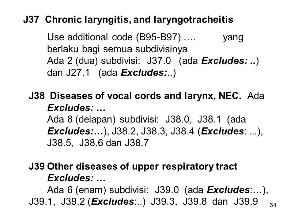 34 J37 Chronic laryngitis, and laryngotracheitis Use additional code (B95-B97) …. yang berlaku bagi semua subdivisinya Ada 2 (dua) subdivisi: J37.0 (a