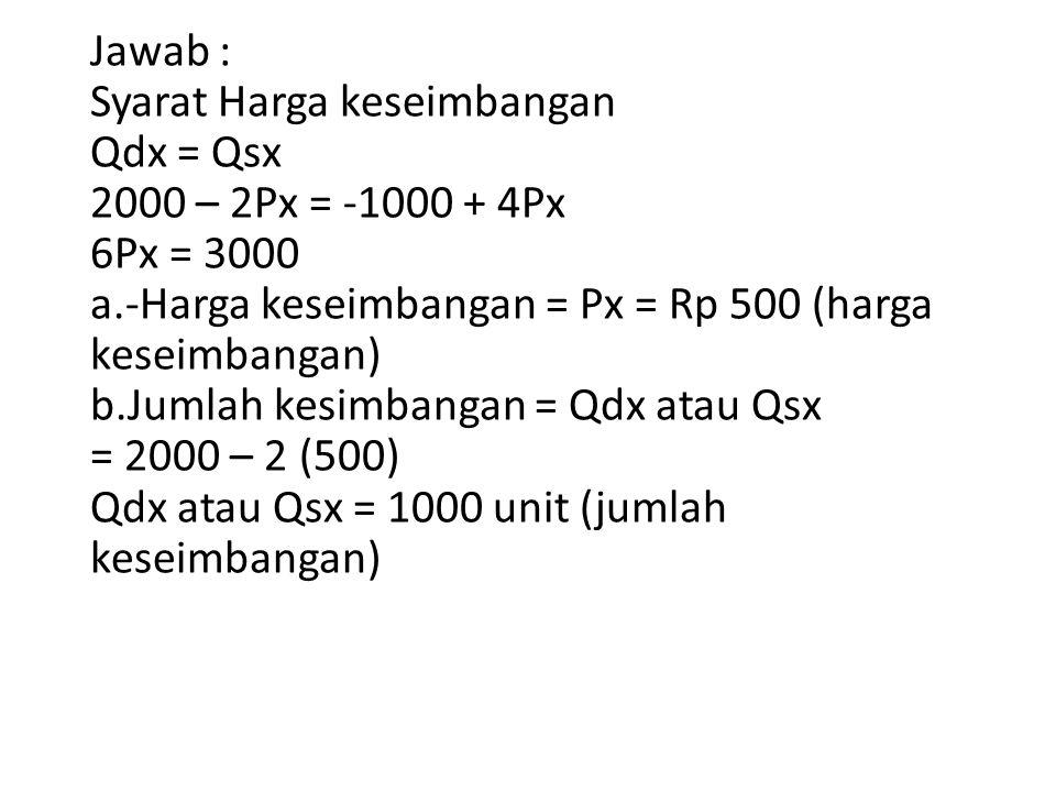 Jawab : Syarat Harga keseimbangan Qdx = Qsx 2000 – 2Px = -1000 + 4Px 6Px = 3000 a.-Harga keseimbangan = Px = Rp 500 (harga keseimbangan) b.Jumlah kesi