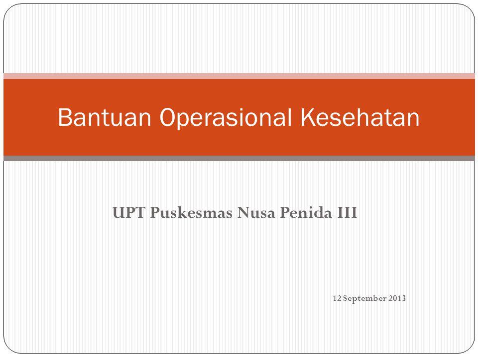 UPT Puskesmas Nusa Penida III Bantuan Operasional Kesehatan 12 September 2013