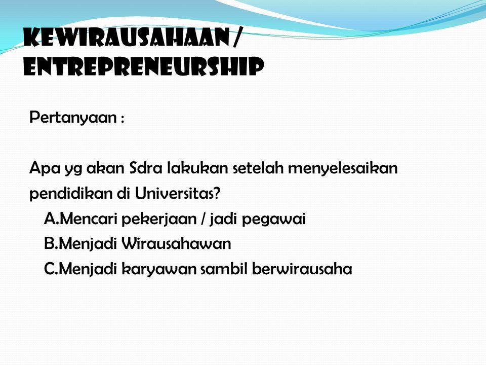 KEWIRAUSAHAAN / ENTREPRENEURSHIP Pertanyaan : Apa yg akan Sdra lakukan setelah menyelesaikan pendidikan di Universitas.