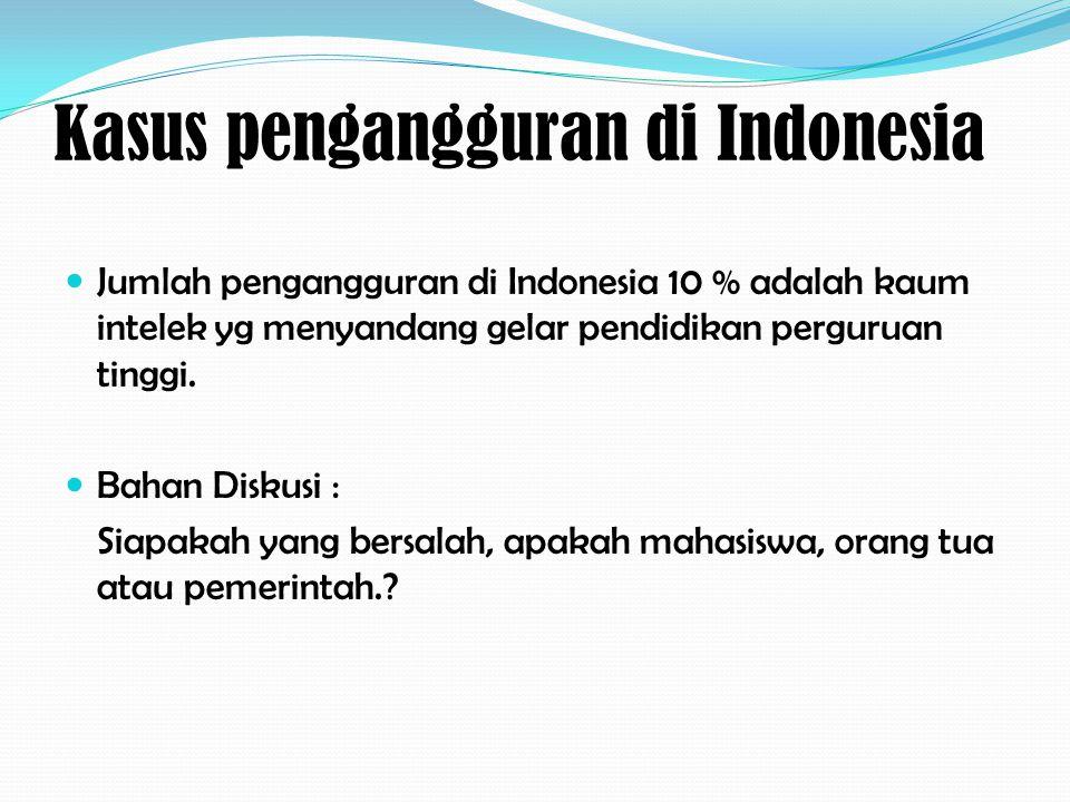 Kasus pengangguran di Indonesia Jumlah pengangguran di Indonesia 10 % adalah kaum intelek yg menyandang gelar pendidikan perguruan tinggi. Bahan Disku