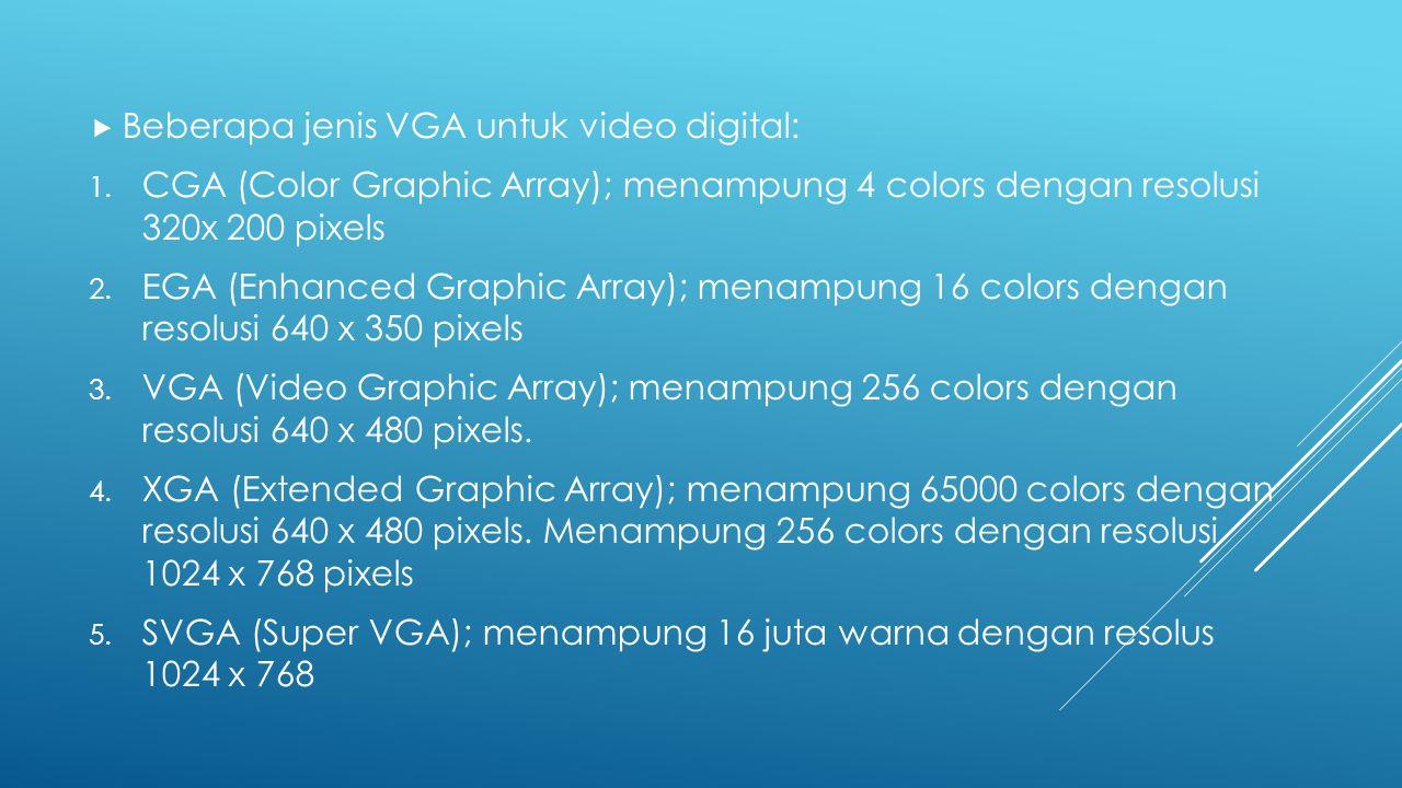  Beberapa jenis VGA untuk video digital: 1. CGA (Color Graphic Array); menampung 4 colors dengan resolusi 320x 200 pixels 2. EGA (Enhanced Graphic Ar