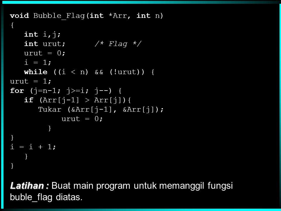 void Bubble(int *DataArr, int n) { int i,j; for (i=1; i<n; i++) for (j=n-1; j>=i; j--) if (DataArr[j-1] > DataArr[j]) Tukar(&DataArr[j-1],&DataArr[j]); } Bila data telah terurut, procedure diatas berlaku 'bodoh', yaitu tetap melakukan pembandingan.