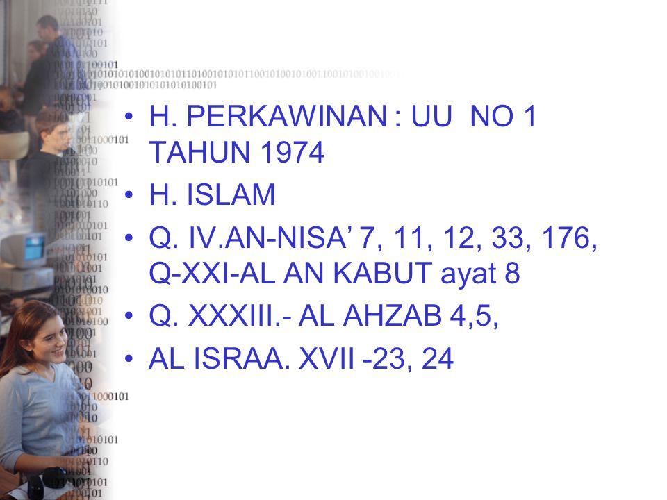 H. PERKAWINAN : UU NO 1 TAHUN 1974 H. ISLAM Q. IV.AN-NISA' 7, 11, 12, 33, 176, Q-XXI-AL AN KABUT ayat 8 Q. XXXIII.- AL AHZAB 4,5, AL ISRAA. XVII -23,