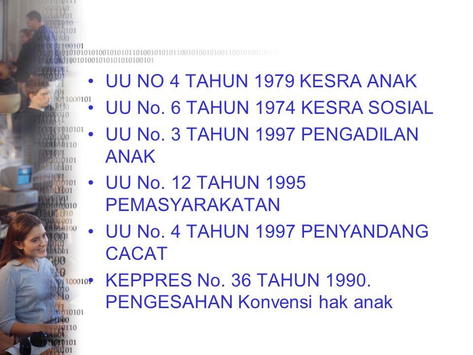 UU NO 4 TAHUN 1979 KESRA ANAK UU No. 6 TAHUN 1974 KESRA SOSIAL UU No. 3 TAHUN 1997 PENGADILAN ANAK UU No. 12 TAHUN 1995 PEMASYARAKATAN UU No. 4 TAHUN