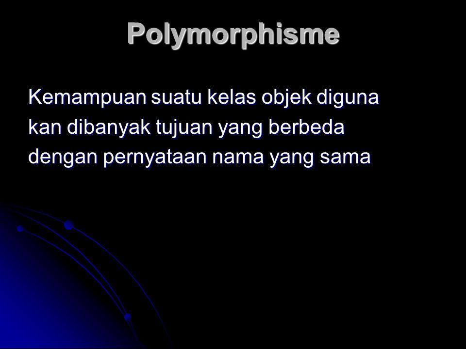 Polymorphisme Kemampuan suatu kelas objek diguna kan dibanyak tujuan yang berbeda dengan pernyataan nama yang sama