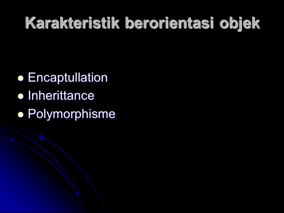 Karakteristik berorientasi objek Encaptullation Encaptullation Inherittance Inherittance Polymorphisme Polymorphisme