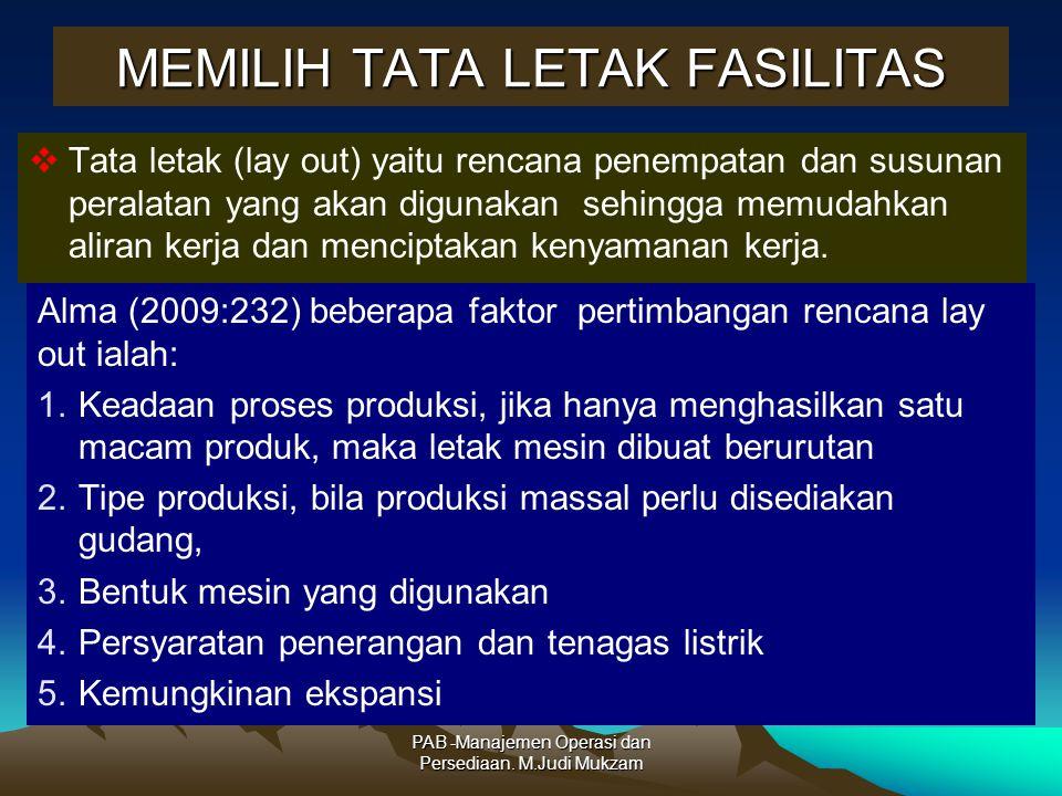 MEMILIH TATA LETAK FASILITAS  Tata letak (lay out) yaitu rencana penempatan dan susunan peralatan yang akan digunakan sehingga memudahkan aliran kerj