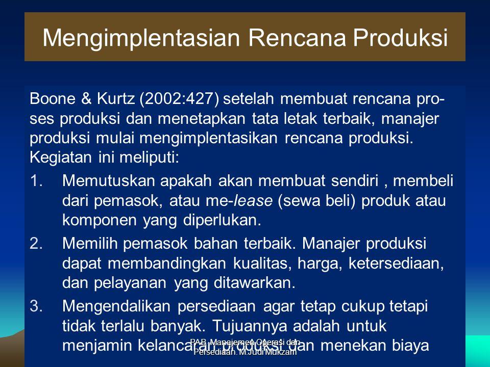 Mengimplentasian Rencana Produksi Boone & Kurtz (2002:427) setelah membuat rencana pro- ses produksi dan menetapkan tata letak terbaik, manajer produk