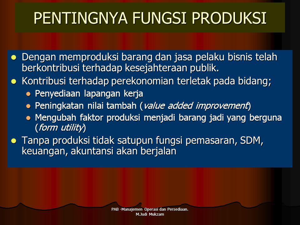 PENTINGNYA FUNGSI PRODUKSI Dengan memproduksi barang dan jasa pelaku bisnis telah berkontribusi terhadap kesejahteraan publik. Dengan memproduksi bara