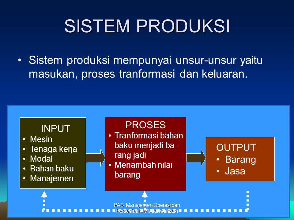 SISTEM PRODUKSI Sistem produksi mempunyai unsur-unsur yaitu masukan, proses tranformasi dan keluaran. INPUT Mesin Tenaga kerja Modal Bahan baku Manaje