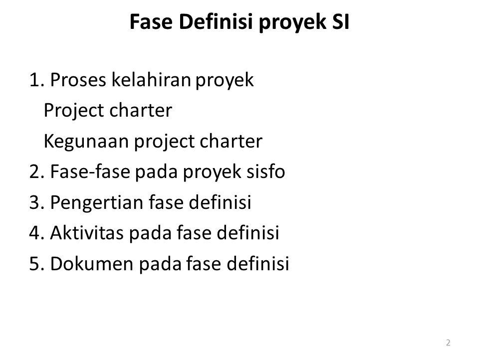 Fase Definisi proyek SI 1. Proses kelahiran proyek Project charter Kegunaan project charter 2. Fase-fase pada proyek sisfo 3. Pengertian fase definisi