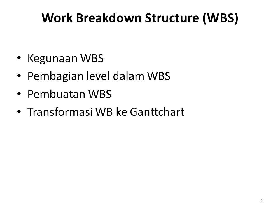 Work Breakdown Structure (WBS) Kegunaan WBS Pembagian level dalam WBS Pembuatan WBS Transformasi WB ke Ganttchart 5
