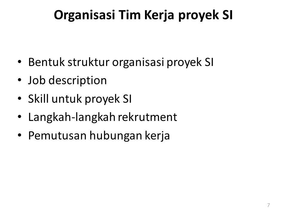 Organisasi Tim Kerja proyek SI Bentuk struktur organisasi proyek SI Job description Skill untuk proyek SI Langkah-langkah rekrutment Pemutusan hubunga