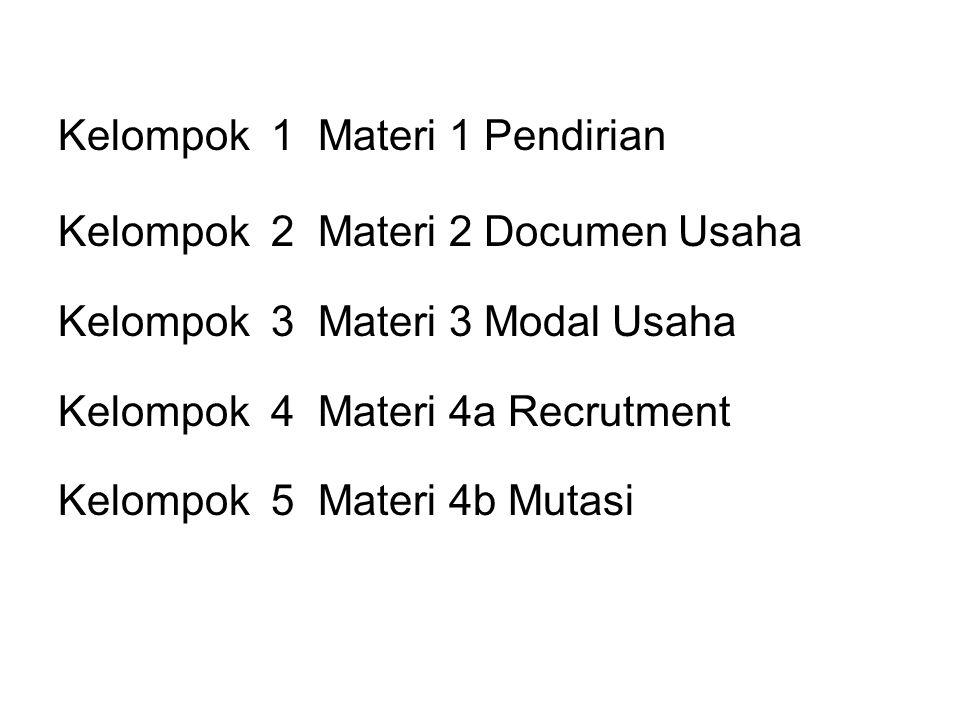Kelompok 1 Materi 1 Definisi KWU Kelompok 2 Materi 2 KerjaPrestatif Kelompok 3 Materi 3 Komunikasi + Kinerja Efektif dan Efisien Kelompok 4 Materi 4a Solusi Masalah Kelompok 5 Materi 4b Pengambilan Keputusan